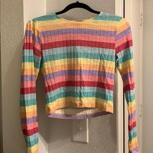 F21 rainbow crop long sleeve top